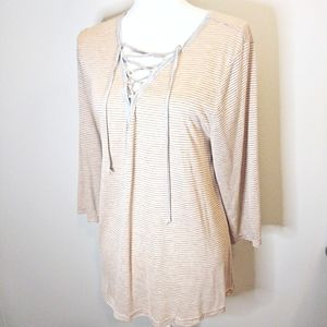 Umgee Pink and Grey Striped High Low Tunic Large